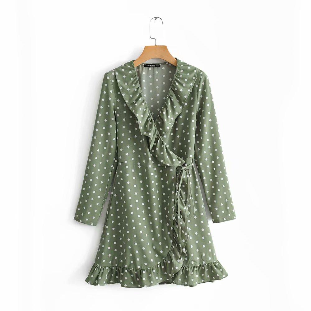 New Women Vintage Cross V Neck Green Polka Dot Print Lace Up Mini Dress Female Cascading Ruffles Vestidos Party Dresses DS2608