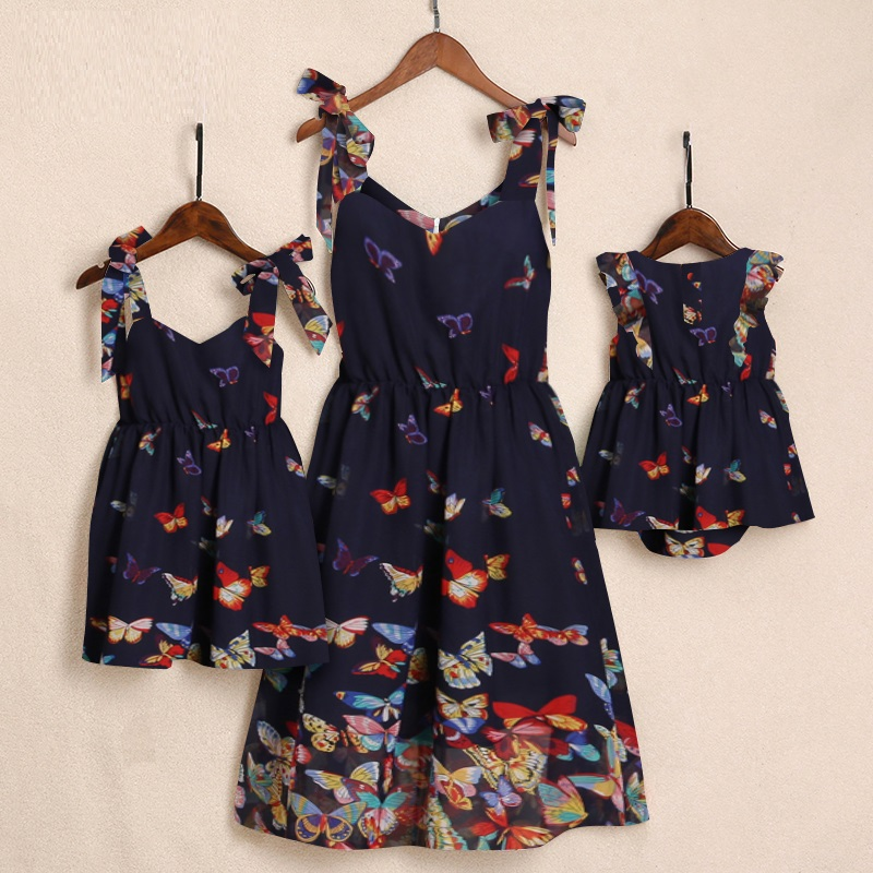 Matching Dress Daughter-Dresses Family Outfits Baby-Girls Mommy Mama Mum Me And Butterflies