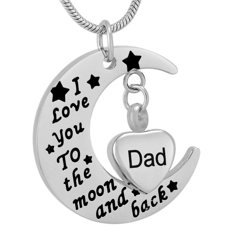 """IJD9737 Ayah Dalam Guci Kecil Saya Jantung Memorial Charm """"aku Mencintaimu Ke Bulan dan Kembali"""" Stainless Steel Kremasi Kalung Liontin"""