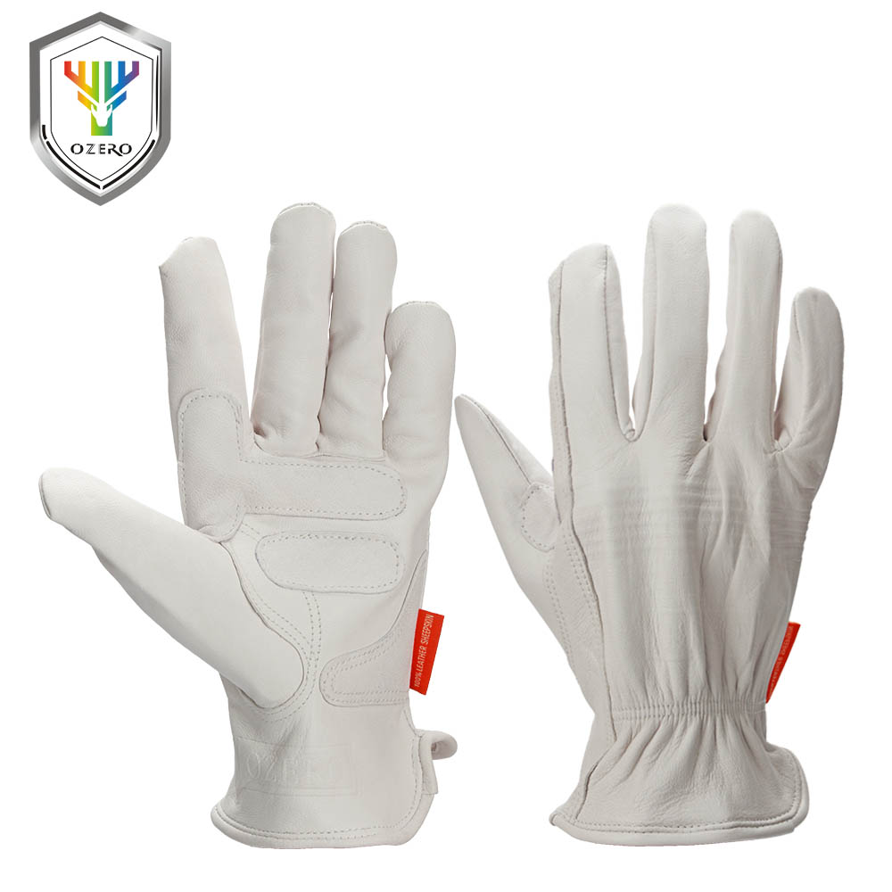 Leather work gloves china - Ozero Safety Gloves Yellow Work Working Garden Gloves Sheepskin Leather Spot Welding Antistatic Protective Gloves For