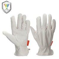 OZERO Schutzhandschuhe Gelb Arbeit Garten Handschuhe Schaffell Leder Punktschweißen Antistatische Schutzhandschuhe Für Männer 0009