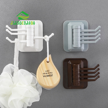 JiangChaoBo Multi-purpose Swivel Hook Kitchen Traceless Bathroom Wall Mount Non-nailing Towel Hanger
