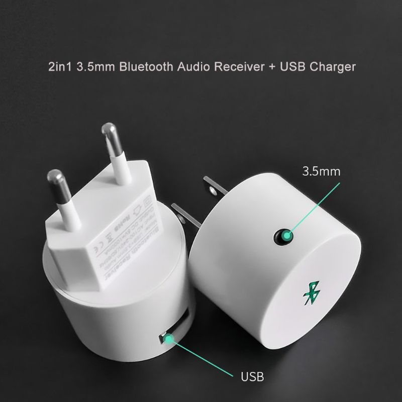 Wireless Bluetooth Receiver 3.5mm AUX Audio Stereo Adapter EU/US USB Charger for Speaker Smart Phone Tablet PC