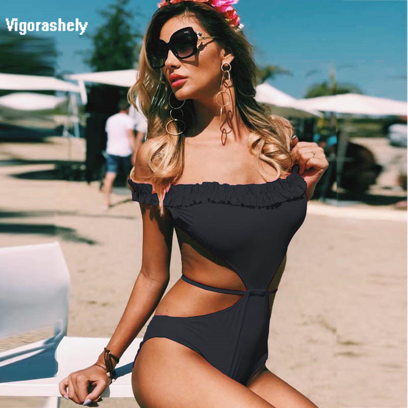 b9fb2fe0f48 Vigorashely Sexy Bandeau One Piece Swimsuit Women Swimwear 2018 Ruffle Push  Up Monokini Black Red Backless Bathing Suit Female