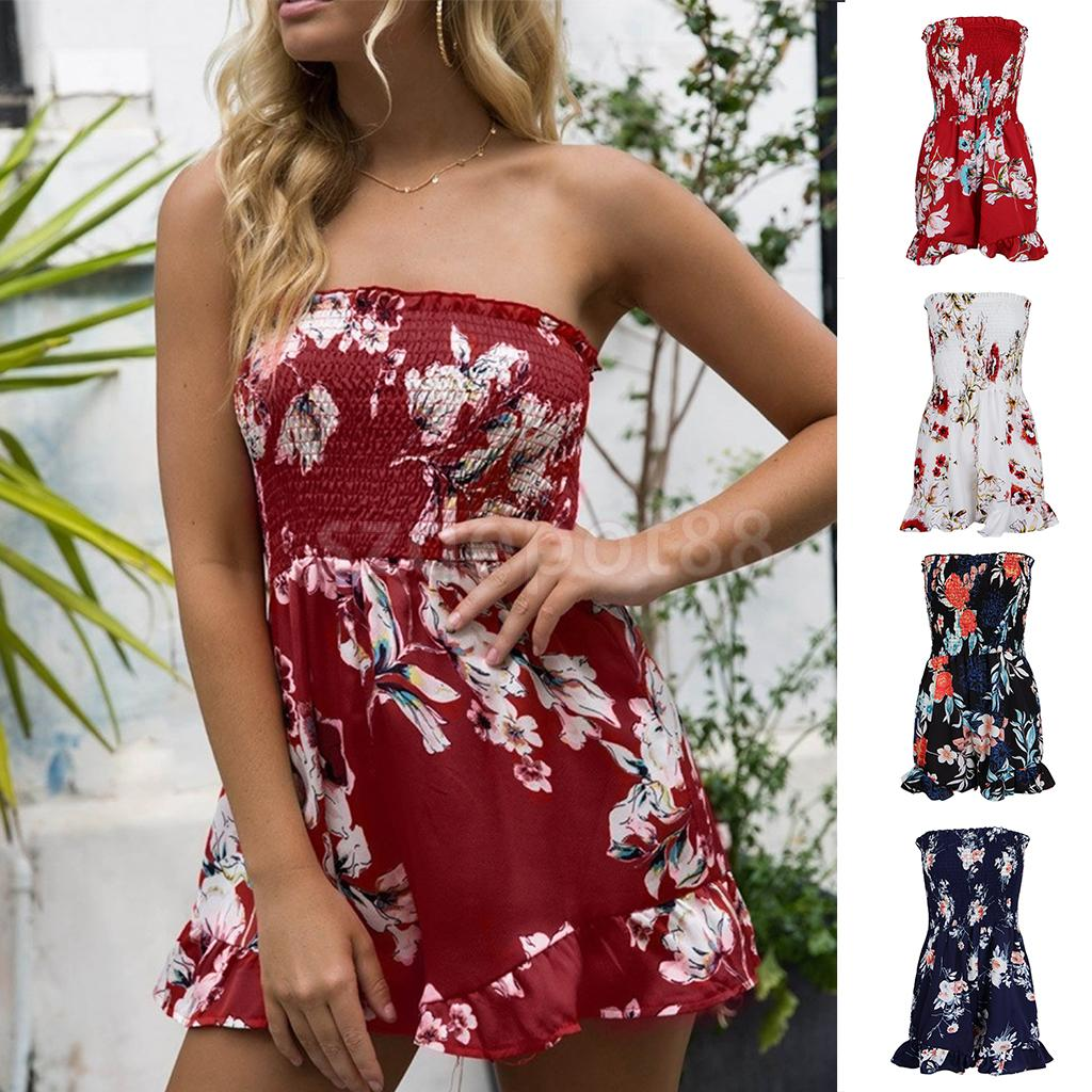Womens Summer Floral Off Shoulder Sleeveless Casual Romper Jumpsuit