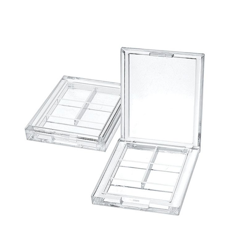 4 Grids Rectangular Eyeshadow Pigment Empty Container Palettes Clear Plastic Portable Lipstick Dispenser Case Tray Makeup Tool