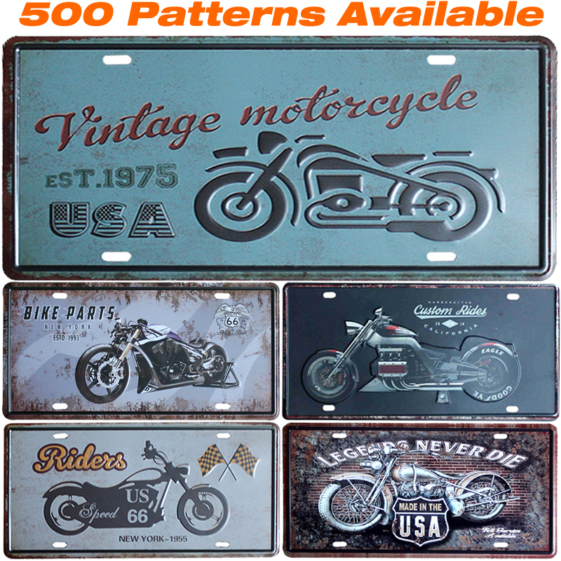 Vintage ] Motorcycle American License Plate Vintage Home Decor Tin ...