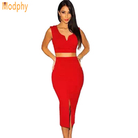 New Arrival Women Two Piece V Neck Sleeveless Mid Calf Bandage Dress V Bottom Split Skirt
