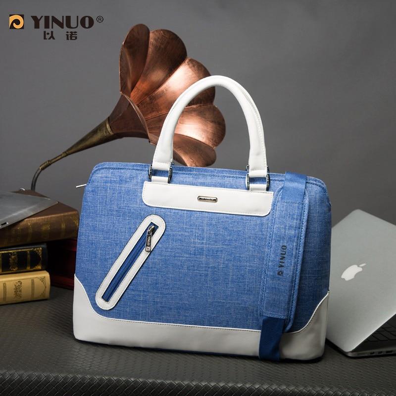 цены  2016 new arrivel YINUO waterproof laptop bag 13 14  inch women men's handbag fashion business briefcase messenger bag