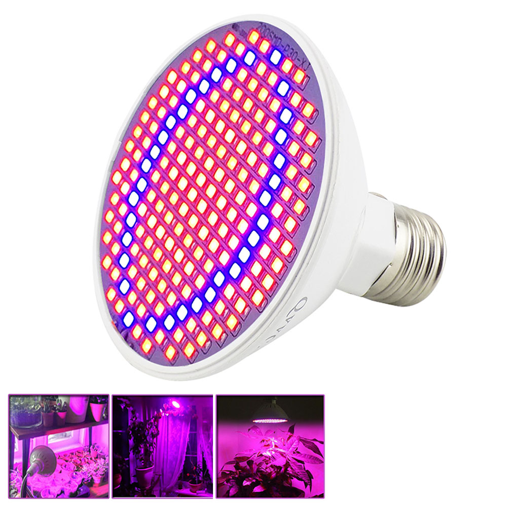 200 LED Plant Grow Light Bulbs E27 Growing Lamp lights Indoor Greenhouse for Hydroponics System Flowers seeds Plants Vegetables 5pcs 200 led grow light indoor plant growing lights e27 lamp for plants seeding flower vegetable hydroponic system greenhouse