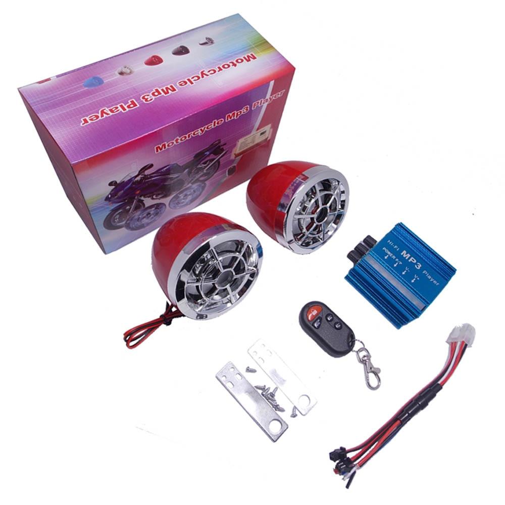 Motorcycle Anti-theft Alarm Audio Speaker MP3 Music Player TF Card USB FM Radio Moto Scooter ATV Remote Control Alarm Speaker