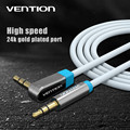 Vention 0.75M 1M 1.5M 2M Audio Cable 3.5mm  From Straight Angle To Right Angle 90 Degree Plug Stereo Cable For Car