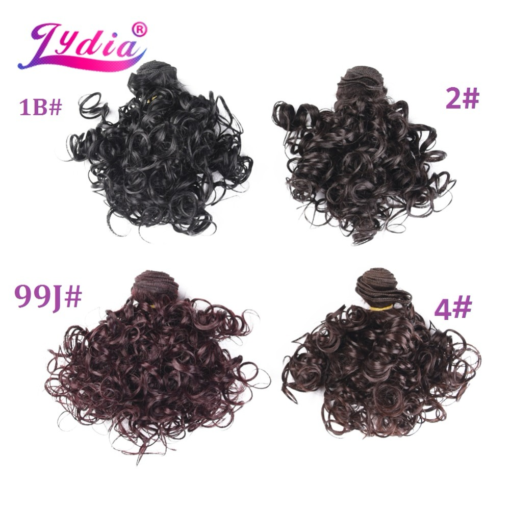 Lydia 4st / Lot Syntet Short Curly Hårförlängningar 12 tum Dubbla - Syntetiskt hår - Foto 6