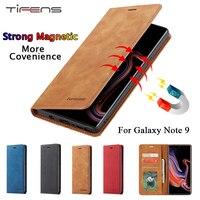 Funda de cuero de lujo para teléfono móvil Samsung Galaxy Note 9, cartera magnética con tapa para tarjetas, soporte para libro, cubierta de protección, 360