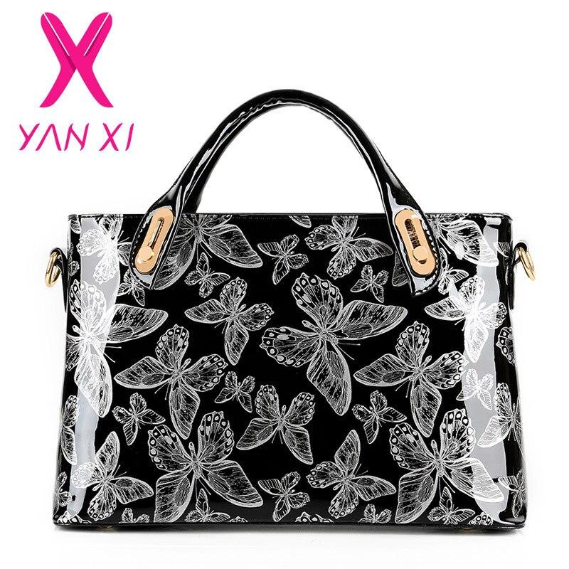 YANXI Factory Outlet Butterfly Patent Leather Shoulder Vintage Handbag Hard Messenger Women Bag Designer Handbags High Quality patent leather handbag shoulder bag for women