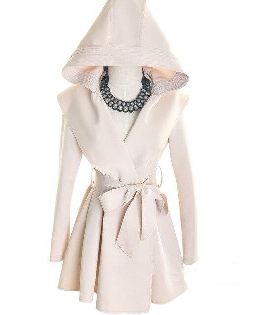 Женщины Плащ Весна Осень С Капюшоном Тонкий Верхняя Одежда Пояс Пальто 2016 Новая Мода Черный Бежевый ZP278
