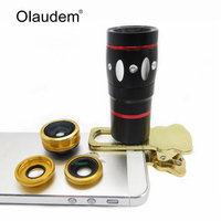 4 in 1 Universal Fish Eye Wide Angle Macro Lens Telescope Fisheye Clip For iPhone 4 4S 5 5S 6 6+ 6S 6S Samsung Smartphone FY4001