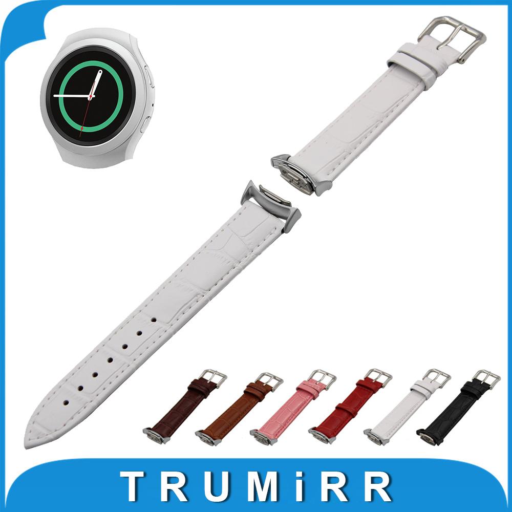 Prix pour Véritable Bande de Montre En Cuir avec Adaptateurs pour Samsung Gear S2 SM-R720/R730 Croco Grain Bracelet Poignet Bracelet Noir Brun blanc