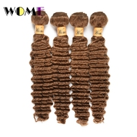 Wome Pre Colored #27Brazilian Deep Wave Hair 4 Bundles Honey Blonde Color Human Hair Weave Non Remy Curly Hair Extensions