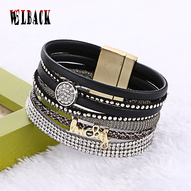 2016 New Multilayer Leather Bracelets For Women Crystal Bracelets letters design Magnetic Bracelets & Bangles jewelry