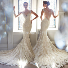 Best Selling Sheer Wedding Dresses Mermaid Trumpet Spaghetti Straps Applique Lace Beads Sequin Ruffle Bridal Gowns yk1A228