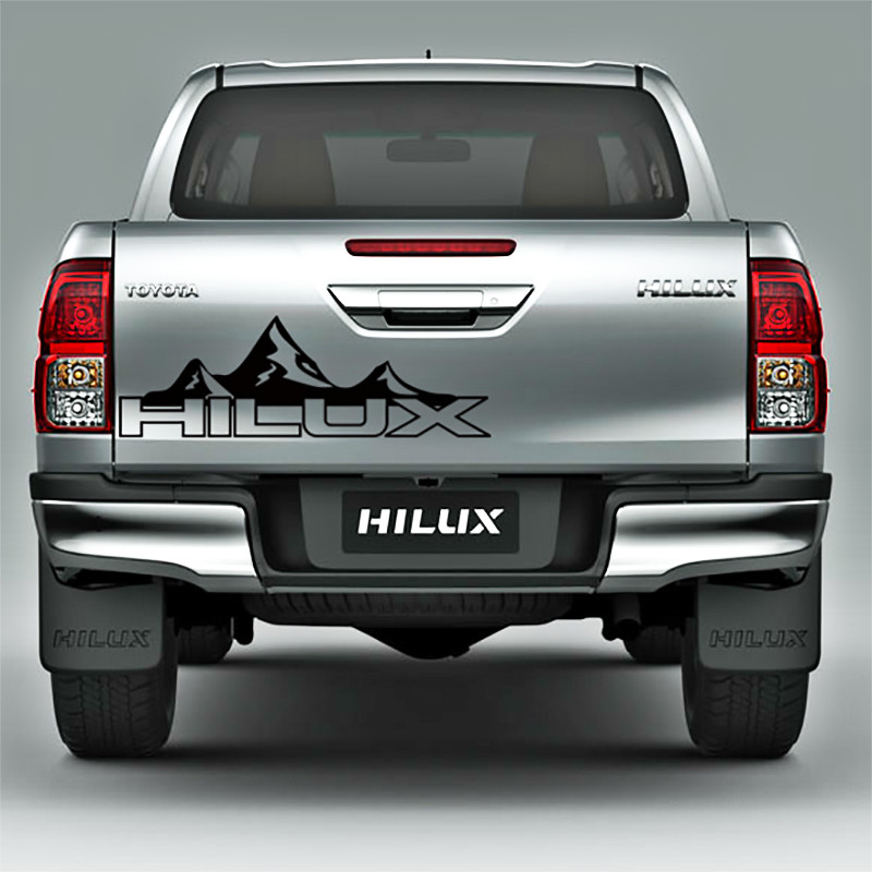 free shipping 1 PC hilux mountain racing door tailgate stripe graphic vinyl car sticker for toyota hilux revo vigo do 2015 2017 car wind deflector awnings shelters for hilux vigo revo black window deflector guard rain shield fit for hilux revo