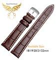 Promoción de los nuevos hombres de cocodrilo marrón de grano Geuine bandas reloj de cuero correas 18 mm 19 mm 20 mm 21 mm 22 mm envío gratis