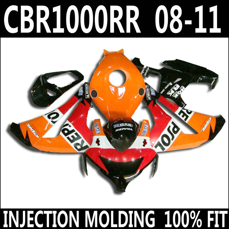 7 Gifts fairings for 08 11 HONDA CBR 1000 RR fairings 2008 2009 2010 2011 orange red white black cbr1000rr fairing kit YKG04