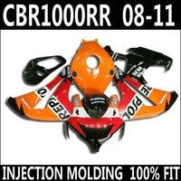 7 Gifts fairings for 08 11 HONDA CBR 1000 RR fairings 2008 2009 2010 2011 orange red white black cbr1000rr fairing kit YKG04