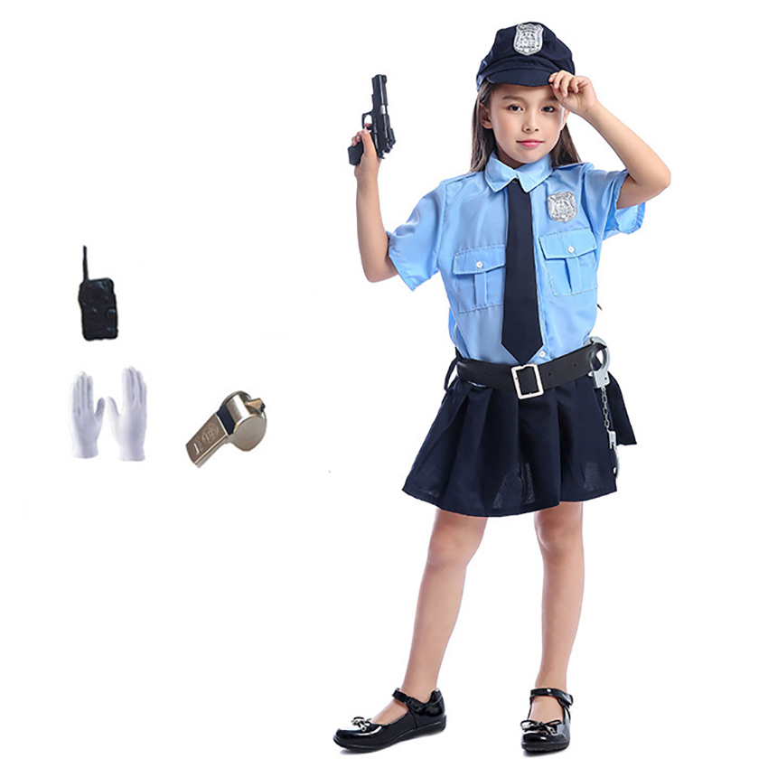 Tiny Cop Cute Girls Carnival Halloween Costume For Kids Cosplay Police Uniform Fancy Dress Cool Disguise Clothing Anime