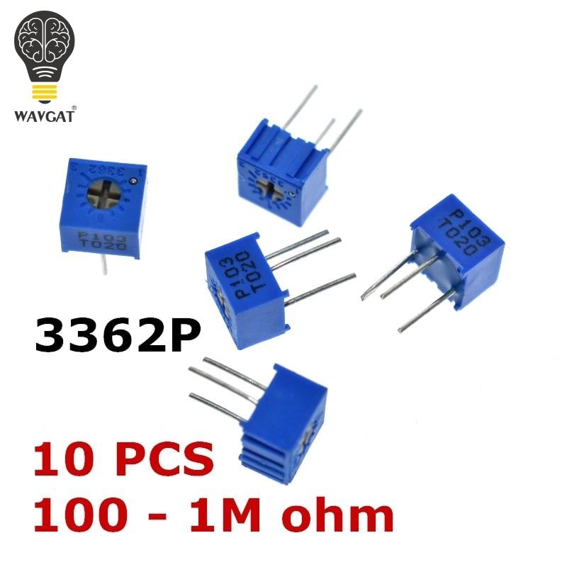 10PCS 3362P 101 201 501 102 202 502 103 203 503 104 204 504 105 Trimpo Trimmer Potentiometer 3362 500R 1K 2K 5K 10K 20K 50K 100K