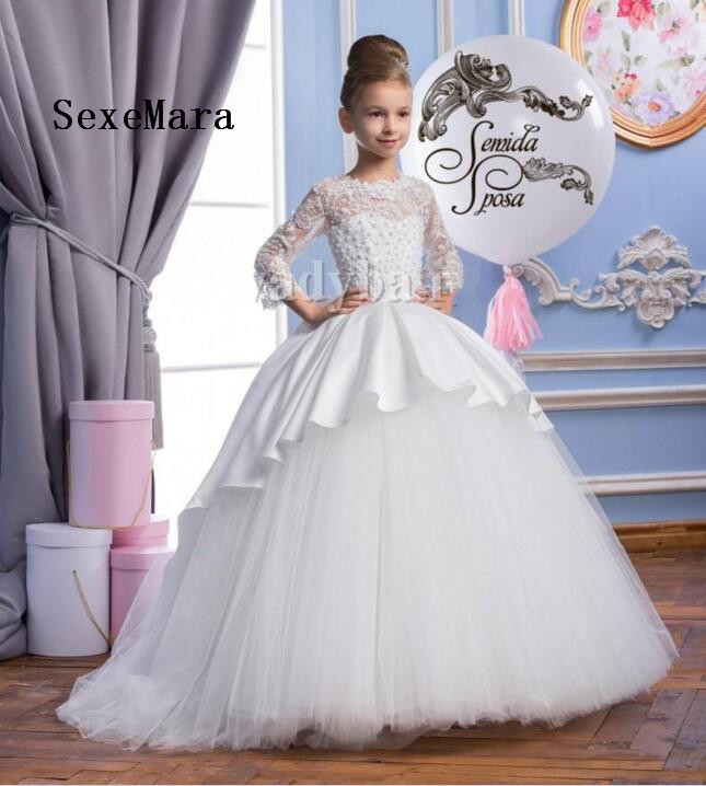 2018 Flower Girl Dresses Sheer Appliqued Jewel Girls Children Party Dress Sweep Train Pageant Gowns Communion Dress cute pink lace flower girl dresses sheer sleeves appliqued baby girl dress tiered toddler pageant birthday dress for party gowns