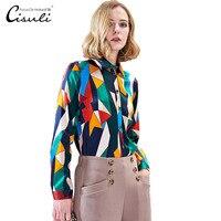 CISULI шелковые блузки Женская Рубашка шелковая сатиновая Блузка женская с длинным рукавом плюс размер S 5XL