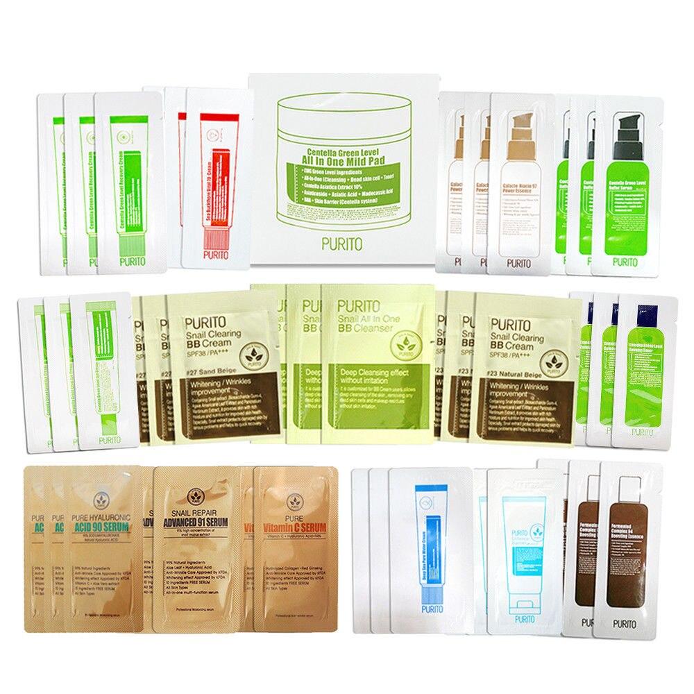 Korea Cosmetic PURITO Sample Kit ( Random Delivery ) 40pcs Face Serum Cream Moisturizing Essence Facial Skin Care Acne Treatment