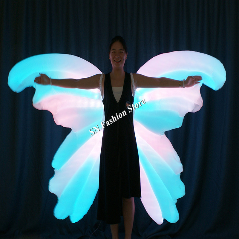 TC-185 программируемый надувные полноцветный светодиодный костюмы бальных танцев крылья бабочки женские платье световой Красочные Носит