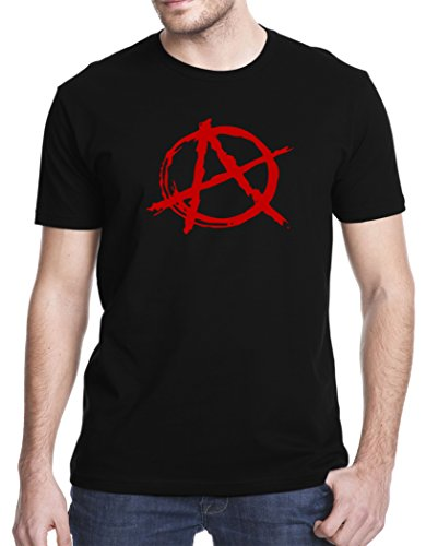 Новый Топы корректирующие 2017 с надписью Для мужчин футболка знак анархии Для мужчин; футболка с короткими рукавами
