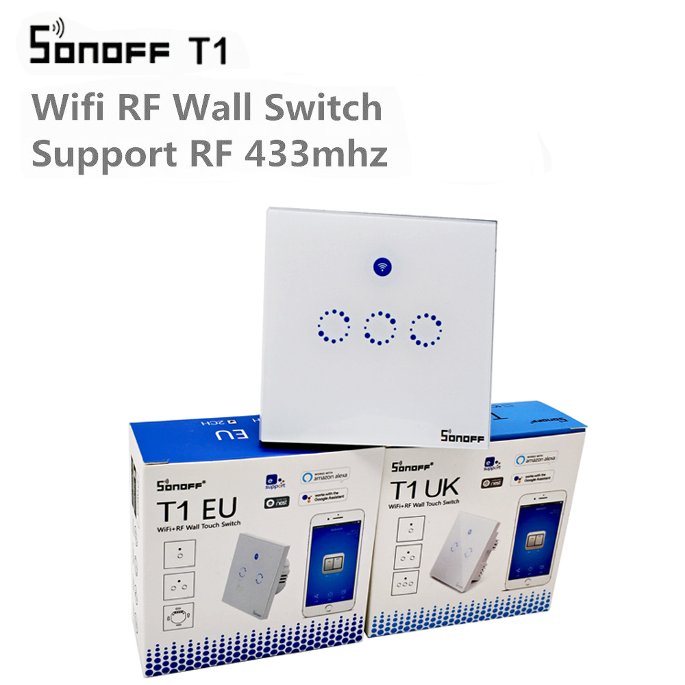 Sonoff T1 Reino Unido UE Smart WiFi RF 433/APP/Touch Control interruptor de pared 1/2/3/banda 86 tipo pared Interruptor táctil de casa inteligente