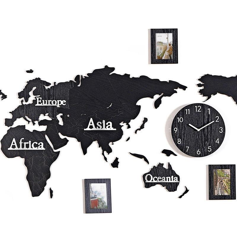 Mappa del mondo di legno acrilico 3D self adesivo da parete sticker orologio da parete Living room divano sticker Ufficio decorazione foto di sfondo da parete - 4