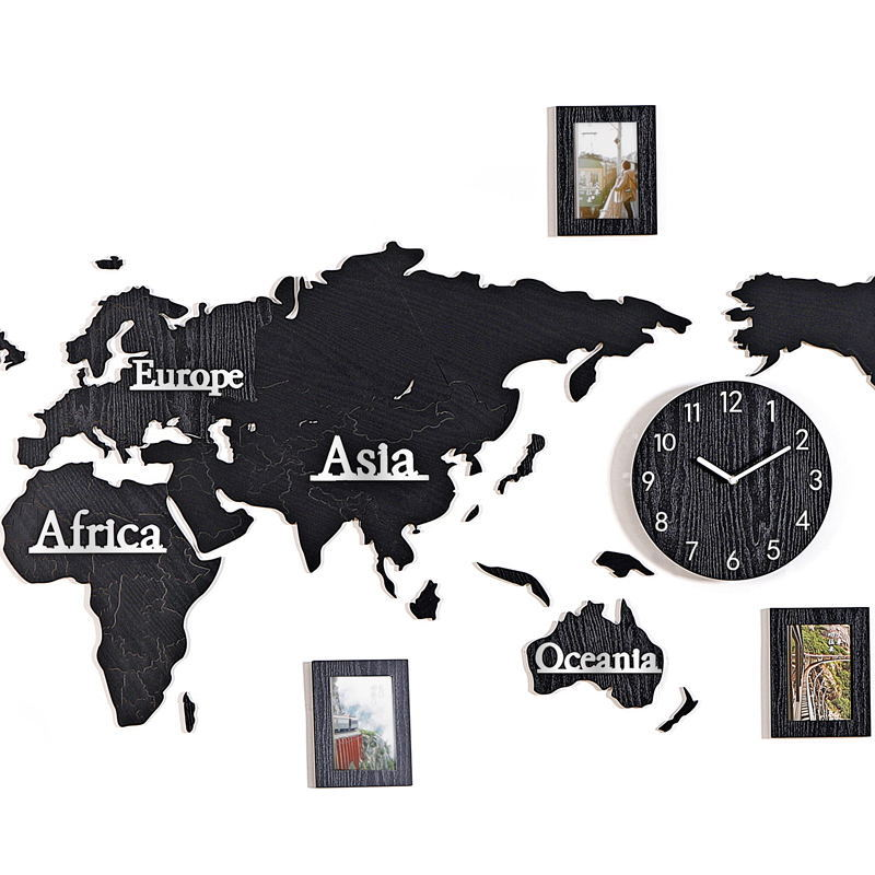 World map acrylic wood 3D self adhesive wall sticker wall clock Living room sofa sticker Office decoration background photo wall - 4