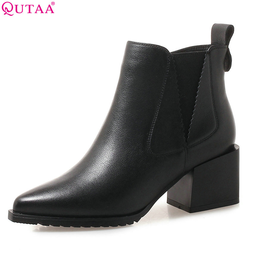 QUTAA 2019 Women Ankle Boots Platform Elastic Band Cow Leather+pu Square High Heel Pointed Toe Women Boots Big Size 34-42 cow leather pointed toe square heel zipper spring autumn boots 2017 new arrival elastic band high top women ankle boot zy170917