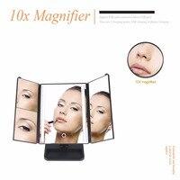 DIODO EMISSOR de Luz 3-guarda-chuva dobrável Maquiagem Espelho Touch Screen 1X/2X/3X Espelho De Aumento De Mesa com Lupa de 10X Espelho Compacto MR-L3013A