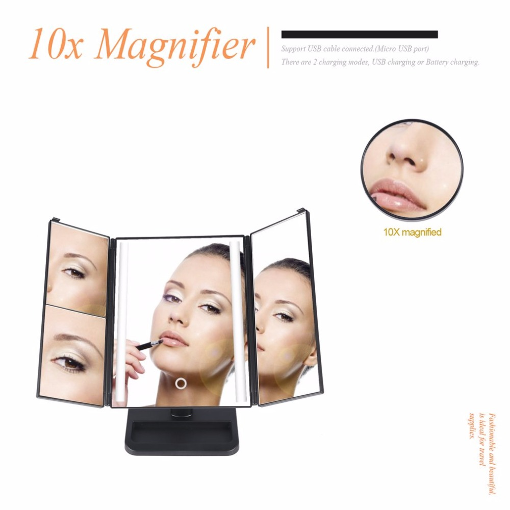 LED Light 3-folding Makeup Mirror Touch Screen 1X/2X/3X Desktop Magnifying Mirror with Compact 10X Magnifier Mirror MR-L3013A 220v 10x desk clip on led illuminated green optical big magnifying glass led lamp folding stand large magnifier with led lights