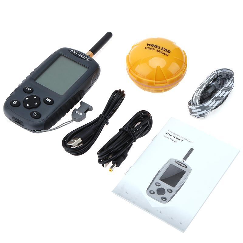 Здесь можно купить  100M Waterproof Wireless LCD Fish Finder 125KHz Sonar Sounder Fish Alarm Transducer Seafishing Accessories peche  Спорт и развлечения