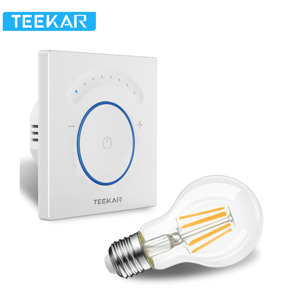 TEEKAR EU Standard Smart Dimmer Switch 1Gang Work With Amazon Alexa Google Home Timing Function APP Control Light Switch W/ Bulb