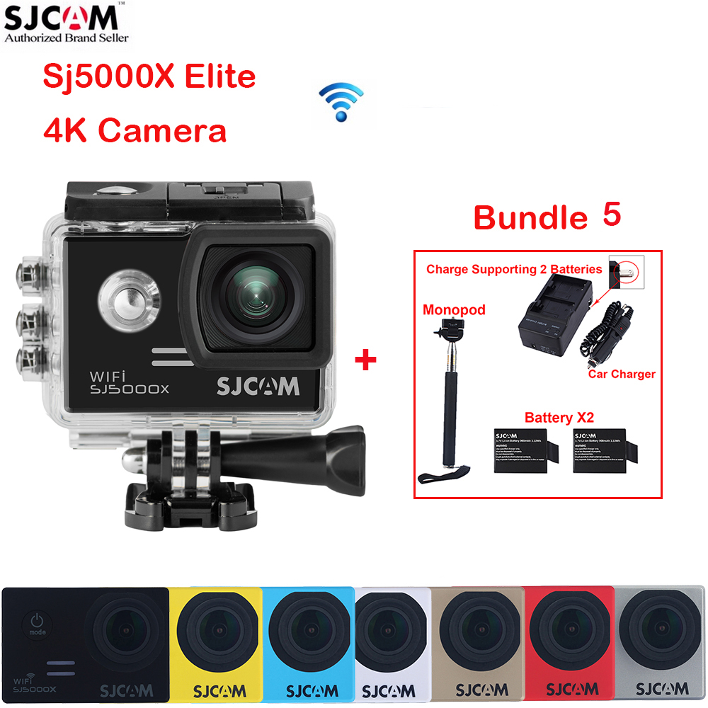 2.0 SJCAM SJ5000X Elite WiFi 4K 30M Waterproof Sports Action Camera Mini Cam DVR + 2 Battery+Dual Wall+Car Charger +Monopod original sjcam m20 wifi 4k 24fps 30m waterproof sports action camera sj cam dvr 2 extra battery dual charger remote monopod