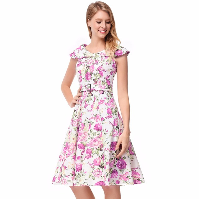 Thyy Women S Summer Dress Casual Clothes Print Flowers Elegant Office