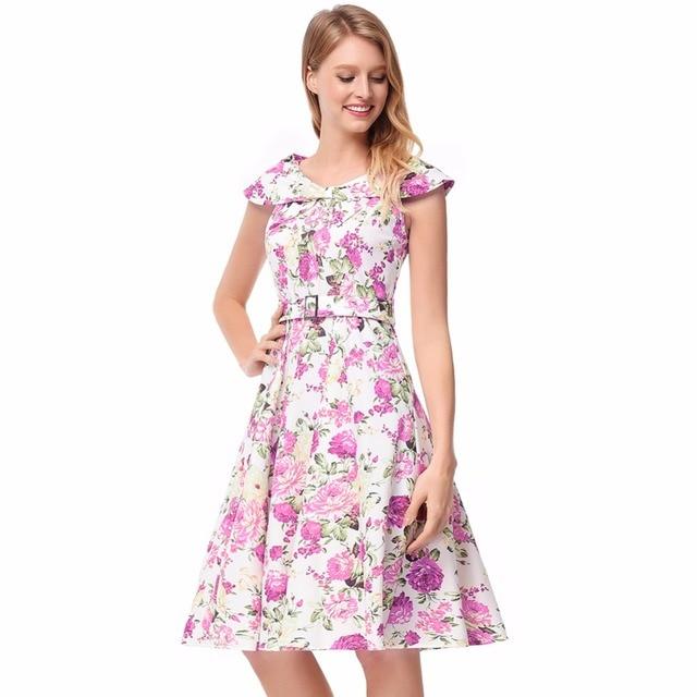 Thyy Women S Summer Dress Casual Clothes Print Flowers Elegant Office Las Vestidos