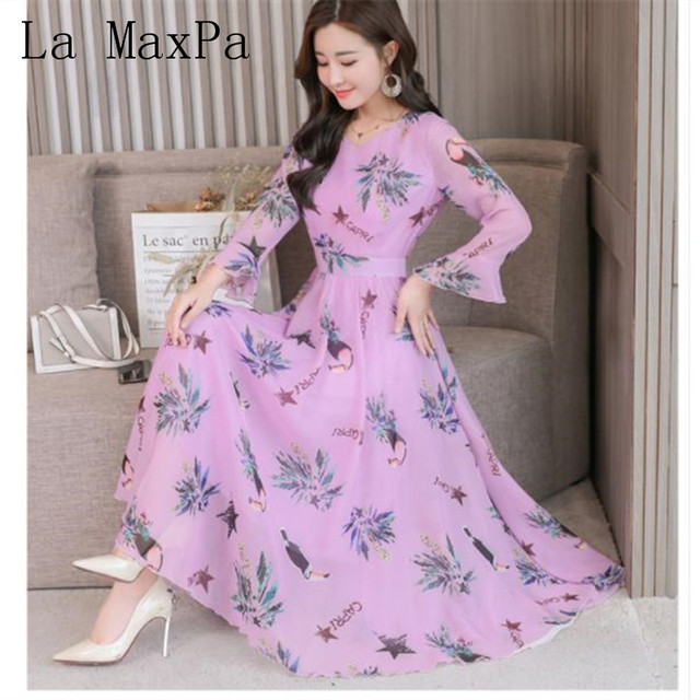 2019 Vintage Autumn Floral Chiffon Boho Midi Dress Plus Size Elegant ...