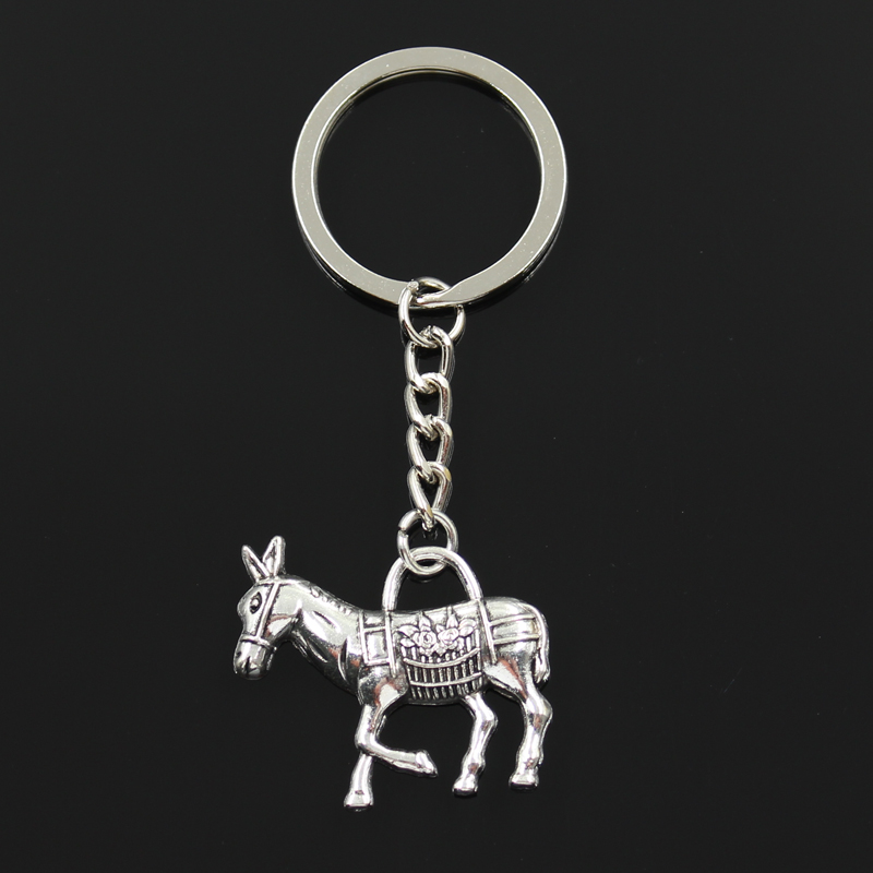 Fashion 30mm Key Ring Metal Key Chain Keychain Jewelry Antique Bronze Silver Color Plated Donkey Burro 33x30mm Pendant