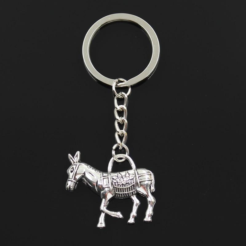 Fashion 30mm Key Ring Metal Key Chain Keychain Jewelry Antique Silver Bronze Plated Donkey Burro 33x30mm Pendant